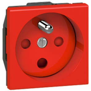 Socket Arteor - French - 2P+E tamperproof - shuttered - 2 modules - red