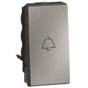 1-way push-button Arteor - with bell symbol - 1 module - magnesium