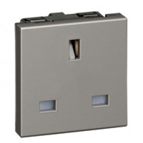 Socket Arteor - BS 1363 - 13 A - 2P+E - 2 modules - magnesium