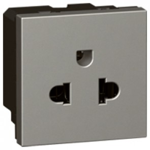 Socket Arteor - Euro-US- 15 A / 127 V - 16 A / 250 V- 2P+E + shutters - 2 modules - magnesium