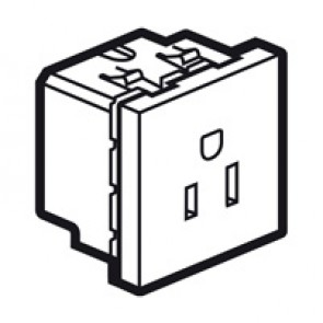 Socket Arteor - US - 15 A / 127 V - 2P+E - 2 modules - magnesium