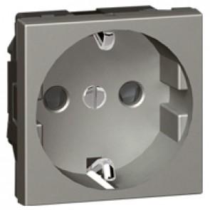 Socket Arteor - German standard - 16 A - 2P+E shuttered - 2 modules - magnesium
