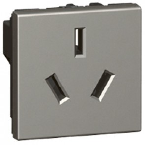 Socket Arteor - Chinese - 16 A - 2P+E shuttered - 2 modules - magnesium