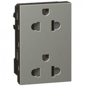 Socket Arteor -Euro-US- 15 A/127 V - 16 A/250 V - 2 x 2P+E + shutters - 3 modules - magnesium