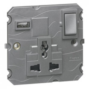 Multistandard 2P+E switched 1 gang socket outlet Arteor 16 A 250 V~/ 15 A - 127 V~ with USB charger - magnesium
