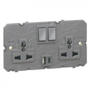 Multistandard 2x2P+E switched 2 gang socket outlet Arteor 16 A 250 V~/ 15 A - 127 V~ with USB charger - magnesium