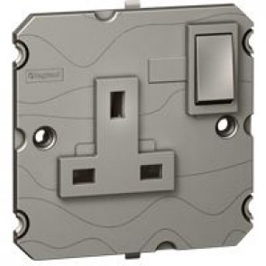 Double pole socket outlet Arteor - BS 1363:2 - 13 A- 2P+E switched- 1-gang - magnesium