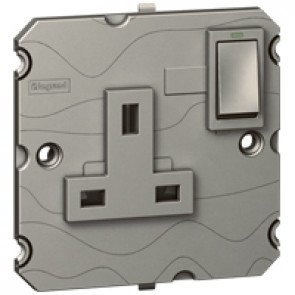 Single pole socket Arteor - BS 1363:2 - 13 A- 2P+E switched+neon - 1-gang - magnesium