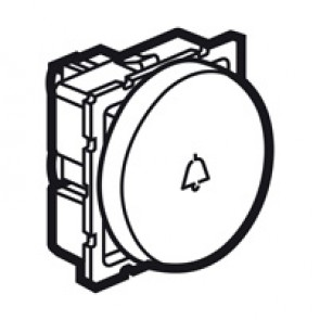 2-way push-button Arteor - with bell symbol - 2 round modules - white