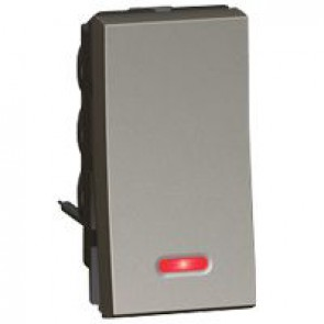 2-way switch Arteor - with indicator - 10 AX 250 V~ - round- 1 middle modules - magnesium