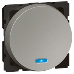 2-way push-button Arteor - with locator - 2 round modules - magnesium