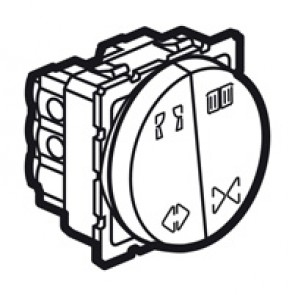 Double switch curtain control Arteor - 10 A - 2 round modules - white