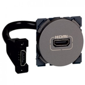 HDMI socket Arteor - preconnected - 2 modules - magnesium