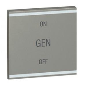 Square key cover Arteor BUS/SCS - GEN/ON/OFF - 2 modules - magnesium