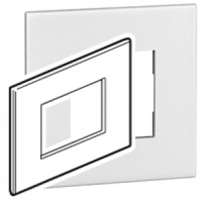Plate Arteor - Italian / US standard - square - 3 modules - white