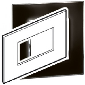 Plate Arteor - Italian/French/German standard - square - 4 modules - mirror black