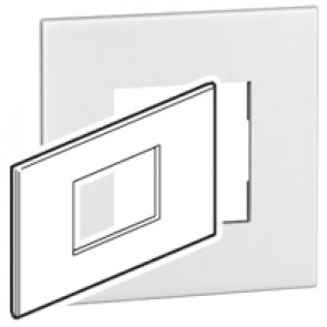 Plate Arteor - British standard - square - 3 modules - white
