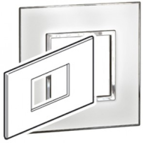 Plate Arteor - British standard - square - 3 modules - mirror white