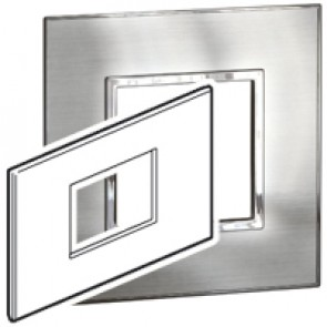 Plate Arteor - British standard - square - 3 modules - stainless style