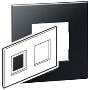 Plate Arteor - British standard - square - 4 modules - graphite