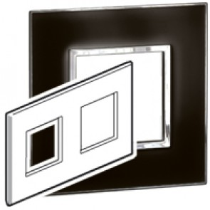 Plate Arteor - British standard - square - 4 modules - mirror black