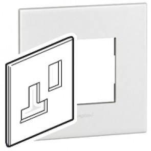 Plate Arteor - BS - square - for switched sockets 1-gang - white