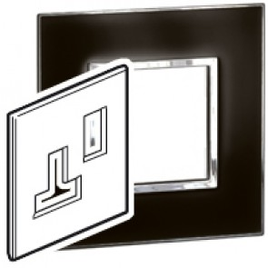 Plate Arteor - BS - square - for switched sockets 1-gang - mirror black
