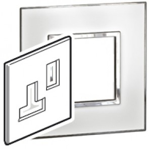 Plate Arteor - BS - square - for switched sockets 1-gang - mirror white