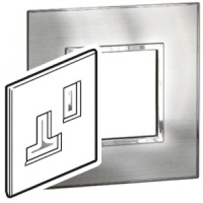 Plate Arteor - BS - square - for switched sockets 1-gang - stainless style