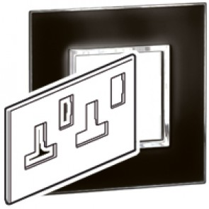 Plate Arteor - BS - square - for switched sockets 2-gang - mirror black