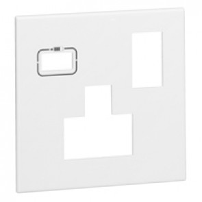 Special plate for multistandard 2P+E switched 1 gang socket outlet Arteor with USB charger - white