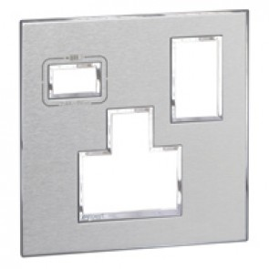 Special plate for multistandard 2P+E switched 1 gang socket outlet Arteor with USB charger - brushed stainless steel