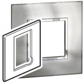 Plate Arteor - BS - square - for fused connection units - stainless style