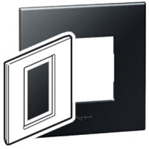 Plate Arteor - British standard - square - 3 modules 1-gang - graphite