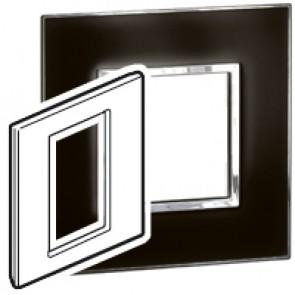 Plate Arteor - British standard - square - 3 modules 1-gang - mirror black