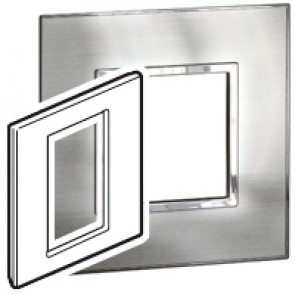 Plate Arteor - British standard - square - 3 modules 1-gang - stainless style