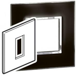 Plate Arteor - British standard - square - 1 module - mirror black