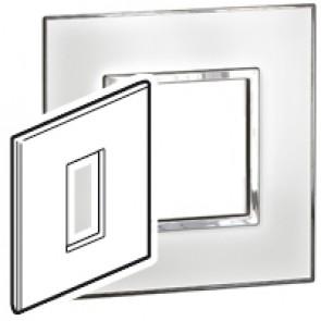 Plate Arteor - British standard - square - 1 module - mirror white