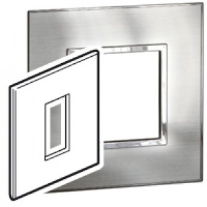 Plate Arteor - British standard - square - 1 module - stainless style