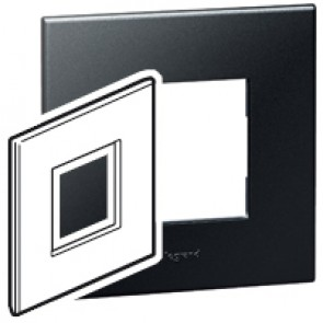 Plate Arteor - British standard - square - 2 modules - graphite