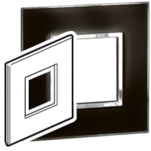 Plate Arteor - British standard - square - 2 modules - mirror black