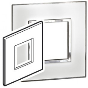 Plate Arteor - British standard - square - 2 modules - mirror white