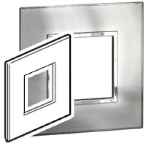 Plate Arteor - British standard - square - 2 modules - stainless style