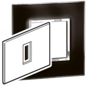 Plate Arteor - Italian / US standard - square - 1 module - mirror black