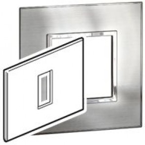 Plate Arteor - Italian / US standard - square - 1 module - stainless steel