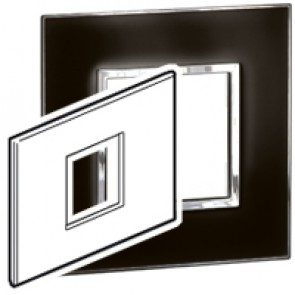 Plate Arteor - Italian / US standard - square - 2 modules - mirror black
