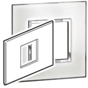 Plate Arteor - Italian / US standard - square - 2 modules - mirror white