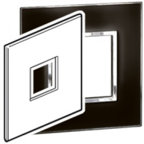 Plate Arteor - US standard - square - 2 modules - 4''x4'' - mirror black