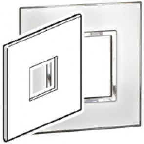 Plate Arteor - US standard - square - 2 modules - 4''x4'' - mirror white