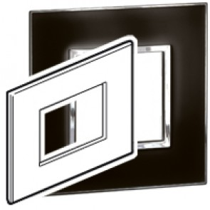 Plate Arteor - Italian / US standard - square - 3 modules - mirror black